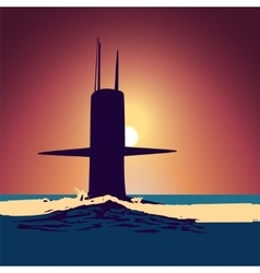 Military submarine silhouette vector image vector image