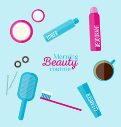 Morning beauty routine vector