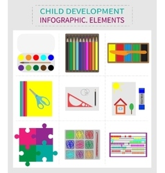 Set of elements for childrens development vector