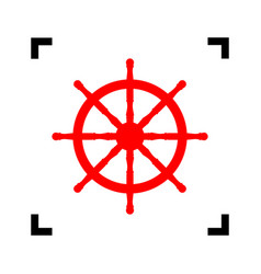 Ship wheel sign red icon inside black vector