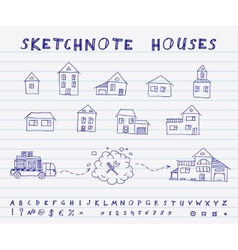 Sketchnote houses vector image
