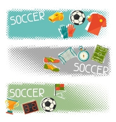 Sports horizontal banners with soccer football vector