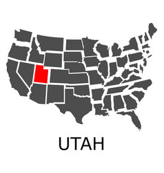 State of utah on map of usa vector