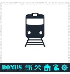 Train icon flat vector
