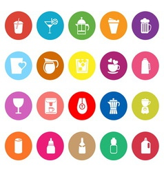 Variety drink flat icons on white background vector image