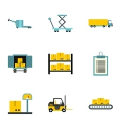 Warehouse icons set flat style vector