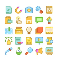 Web design and development colored icons 2 vector