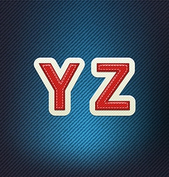 Stitched Fabric Font Y-Z vector image