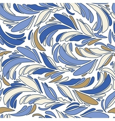 Blue seamless texture with feathers vector image