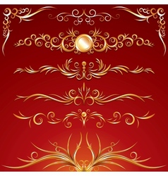 Golden ornamental design elements graphics vector