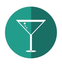 Glass cocktail martini with olive shadow vector