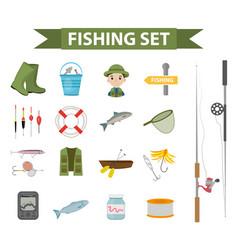 fishing icon set flat cartoon style fishery vector image