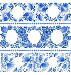 Russian traditional blue ornament in gzhel style vector