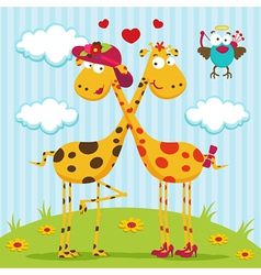 giraffes boy girl and bird vector image