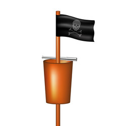 Pirate flag with a basket and a spyglass vector