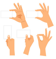 Male hand holding blank card set vector