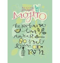 Mojito cocktail recipe vector