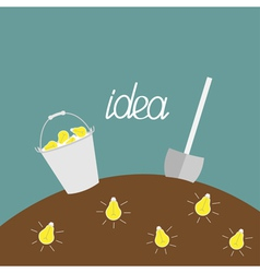 Lamp bulb underground shovel and bucket dig idea vector