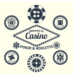 Casino emblems set vector