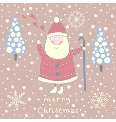 Santa greeting card vector image