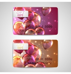 Set of shiny gift cards with flying balloons and vector