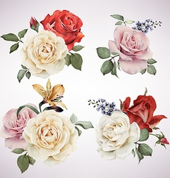 Set of bouquets of roses watercolor can be used as vector