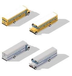 School and prison buses isometric icon set vector
