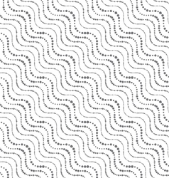 Repeating ornament of dotted wavy diagonal lines vector
