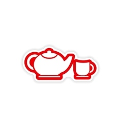 Paper sticker teapot and cup on white background vector