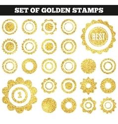 Set of golden grunge stamp round shapes vector