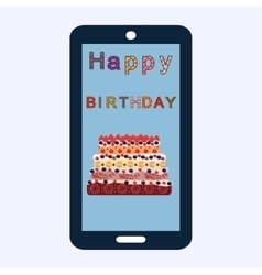 Happy birthday cake greetings smartphone vector