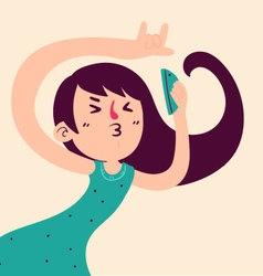 Fun girl taking a selfie vector