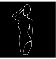 Beautiful black and white nude woman silhouette vector image vector image