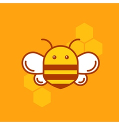 Bee thin lined icon bumblebee logotype template vector