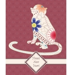 Card vintage with monkey vector image vector image