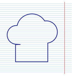 Chef cap sign navy line icon on notebook vector