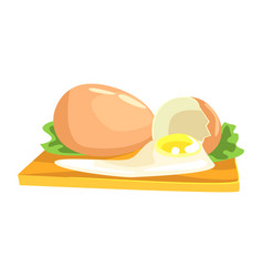 Chicken egg food item rich in proteins important vector