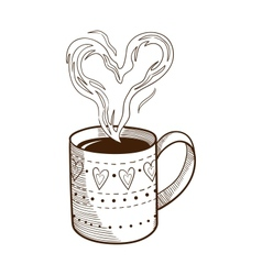 Coffee cup with heart shaped steam vector