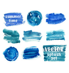Collection of abstract blue paint brush strokes vector