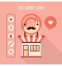 Donut shop design element set Food delicious vector image vector image