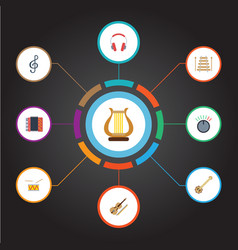 flat icons knob tambourine banjo and other vector image vector image