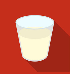 Glass milk icon flat single bio eco organic vector