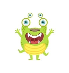 Green screaming friendly monster vector