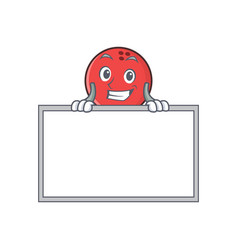 Grinning bowling ball character cartoon with board vector