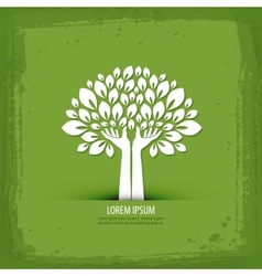 Hands and tree logo icon sign emblem template vector image vector image
