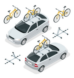 Isometric car is transporting bicycles on the roof vector