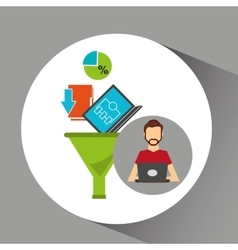 Man beard working laptop data analytics vector