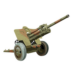Old military gun on wheels vector