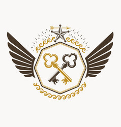 old style heraldic emblem made with keys and vector image