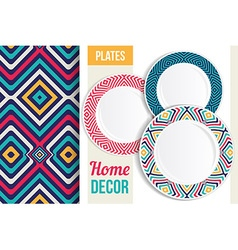 Pattern and set of decorative plates vector image